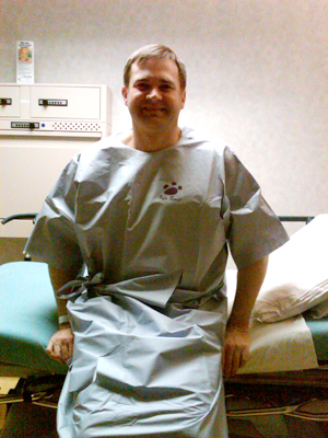 me at the hospital just before my fourth hernia surgery