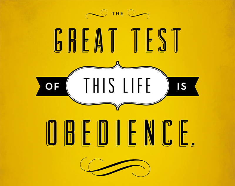 The great test of this life is obedience.
