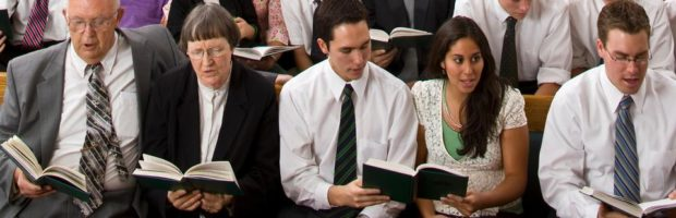 LDS sacrament meeting hymn singing